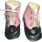 Vintage Doll Shoes Pink and Black NOS