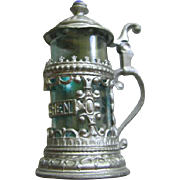 German MIniature Metal Filigree Stein with Blue Glass for Dollhouse German Roombox or Antique Doll