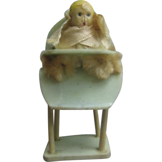 Miniature Baby in Celluloid Highchair for Dollhouse