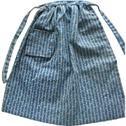 Old Blue Calico Hand Stitched Doll Apron for China Head or Rag Doll
