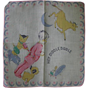 Childs Colorful Nursery Rhyme Hankie Hey Diddle Diddle