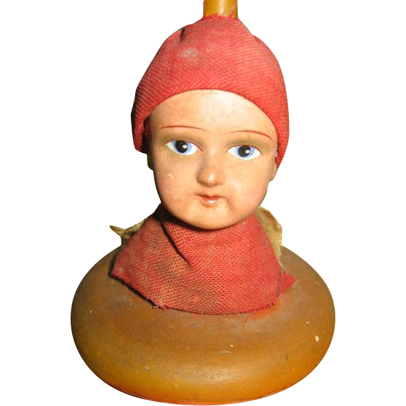 Old Doll Head Hat Stand Painted Paper Mache Head on Wooden Stand