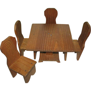 Vintage Wooden Table and Chairs for Doll's Kitchen Display Ginny or Nancy Ann Sized