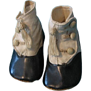 Antique Two Toned Tasseled Hightop Button Baby Shoes