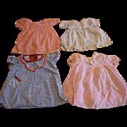 Lot of 4 Vintage Doll Dresses