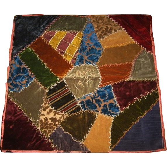 Dated Crazy Quilt Velvet Pillow Top Frame It