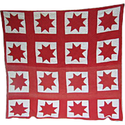 Patriotic Red Star Appliqued Vintage Quilt