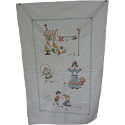 Nursery Rhyme Crib Quilt Old Woman in Shoe