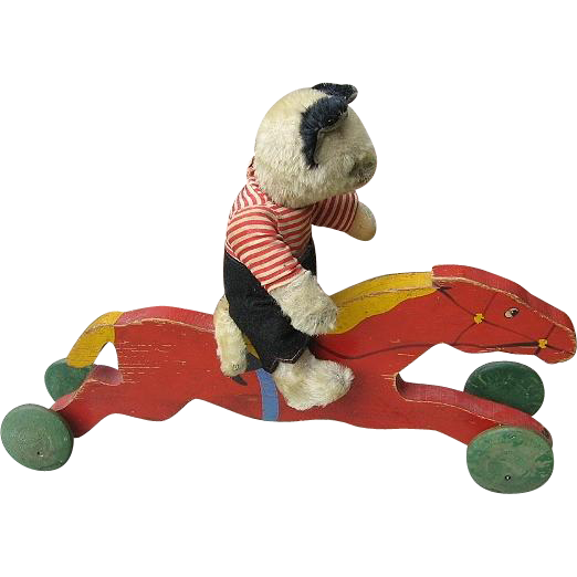 Vintage Race Horse Wooden Toy Ride On for Dolls or Critters