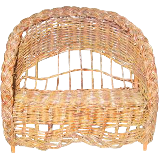 Wicker Doll Bench Curved Back with Arch Miniature Seat for Dolls