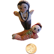 2 Adorable Hand Crocheted Silk Face Dolls