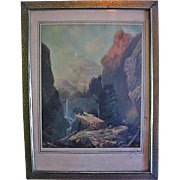 R Atkinson Fox Print in Period Frame
