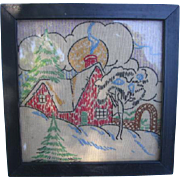 2 Miniature Embroidered Cottage Samplers for Display