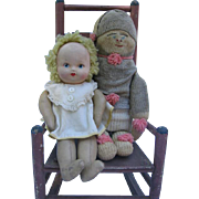 Wonderful Old Handmade Sock Doll Named Dudley with Paper