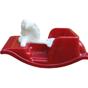 NOS Dollhouse Rocking Horse By Acme Red with White Horsey