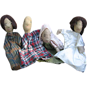 4 Vintage Handmade Puppets for Sunday School Lessons or Play