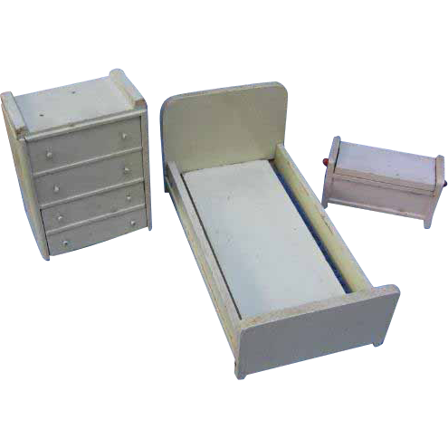 1930s Dollhouse Bedroom Furniture Bed Dresser Chest of Drawers & More