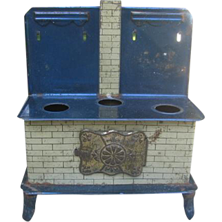 Old Blue Tin Lithographed Toy Stove with Pans for German Room Box