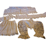 Antique Net Lace Doll Dress Sleeves Plus Lovely Trims