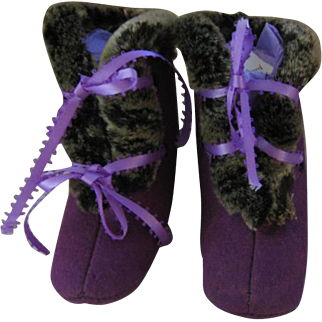 Vintage Purple Baby Boots with Fur Trim Cute Shoes or Slippers for Baby or Large Doll