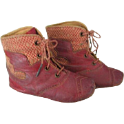 Antique Red Leather Angel Wings and Fabric Baby Shoes