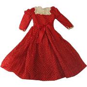 Red Dotted Swiss and Lace Doll Dress
