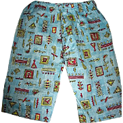 Vintage Novelty Fabric Pants for Boy Doll or Teddy Bear