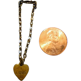 Vintage Doll Necklace with Heart I Love U