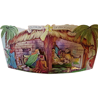 Vintage 3 Dimensional Nativity Cardboard Fold Out 1940s Holiday Diecut