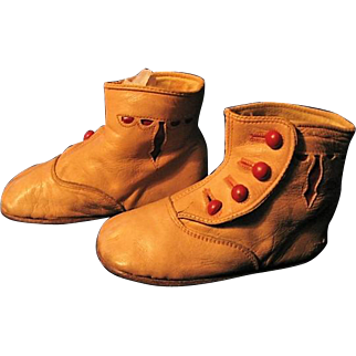 Antique Red Accent & Tan Leather Baby Shoes