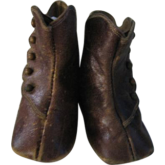 Wonderful Antique Hightop Doll Boots with Keystone Marked Sole
