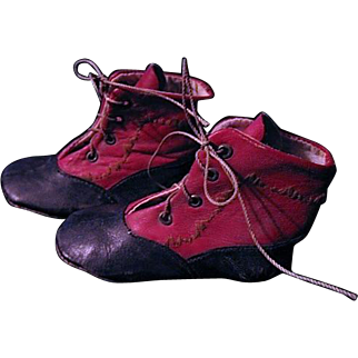 Red and Black Hightop Baby or Doll Shoes