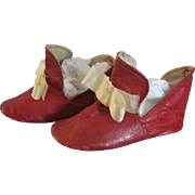 Sweet Old Red Leather Baby Shoes or Slippers with Ribbon