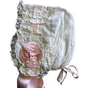 Beautiful Handmade Ornate Baby Bonnet for Christening or Large Doll