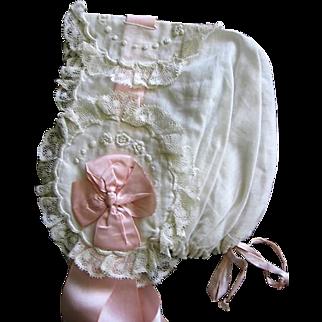 Beautiful Handmade Ornate Baby Bonnet for Christening or Large Doll