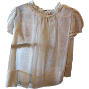 Lovely Ecru Baby Dress with Ribbon Lace Trim