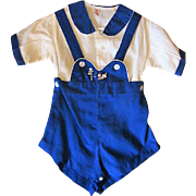 Vintage Boys Baby Outfit with Kitten and Pup