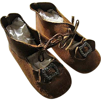 Lovely Leather Doll Shoes from Yesteryear