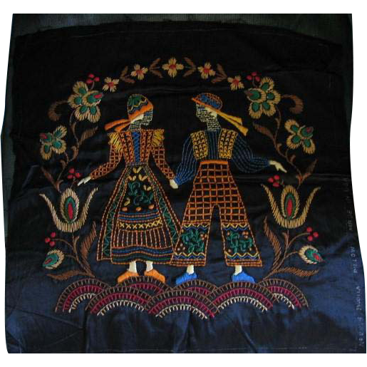 Bucilla Vintage Embroidered Pillow Top with Colorful Couple