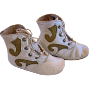 Antique Leather and Ornately Designed Baby Shoes