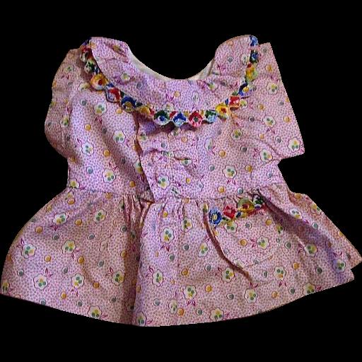 Precious Purple Calico Feed Sack Doll Dress