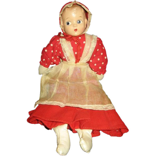 Adorable Vintage Red Riding Hood Purse Doll