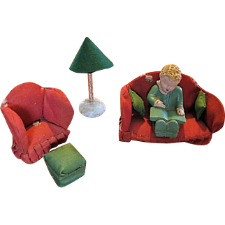 Old Vintage Upholstered Dollhouse Furniture and Boy