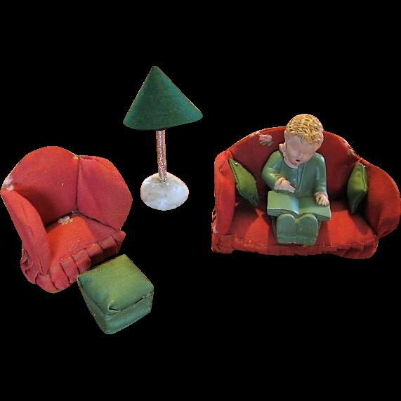 Old Vintage Upholstered Dollhouse Furniture and Boy