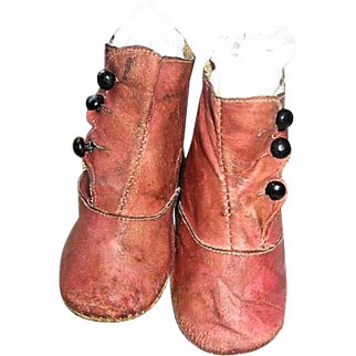 Antique Victorian Pink Leather Baby Shoes Early 1900's