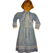 Antique Childs Dress Blue Checked Girls Dress with Embroidery and Lace