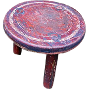Old Red Painted 3 Legged Milking Stool