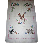 Vintage Baby Quilt Hand Stitched Design with Fawn and Forrest Friends