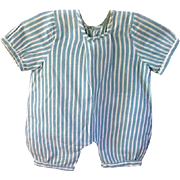 Vintage Blue and White Striped Baby Jumpsuit or Romper for Doll or Bear