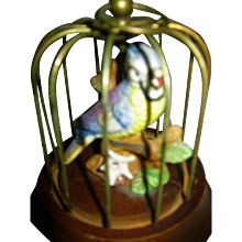 Miniature Birdcage with Porcelain Bird for Doll